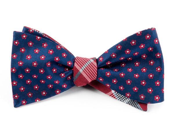 Anemones Plaid Navy Bow Tie
