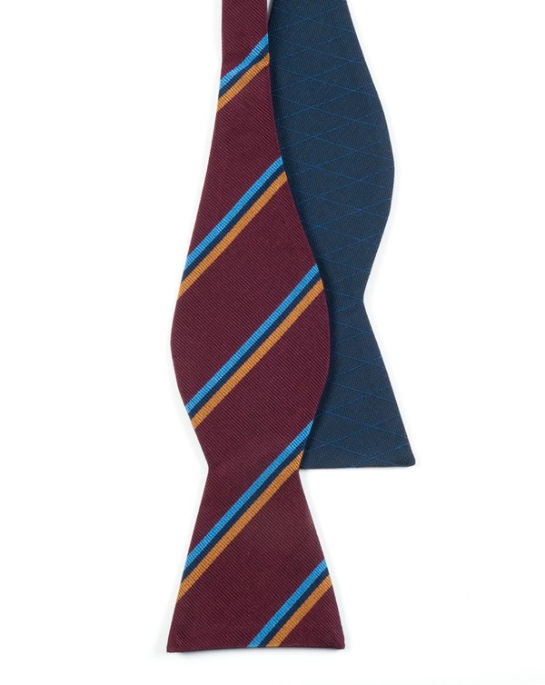 Roadway Argyle Navy Bow Tie