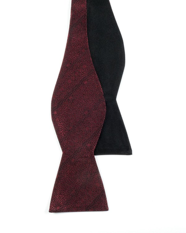 Interlaced Solid Burgundy Bow Tie