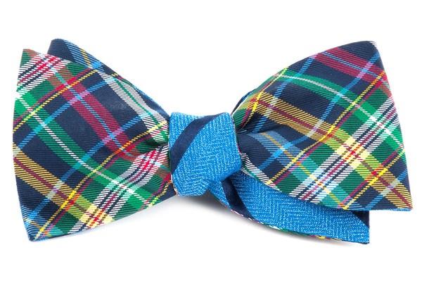 Corrigan Path Stripe Navy Bow Tie