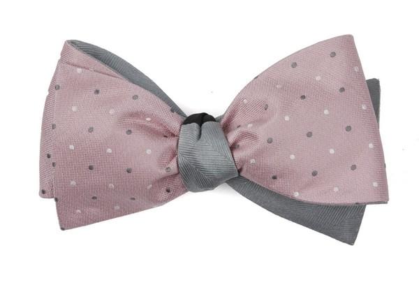 Suited Polka Herringbone Pink Bow Tie