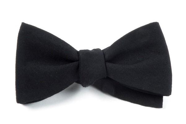 Solid Wool Black Bow Tie