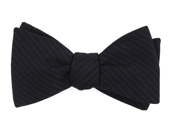 Chalk Stripe Midnight Navy Bow Tie