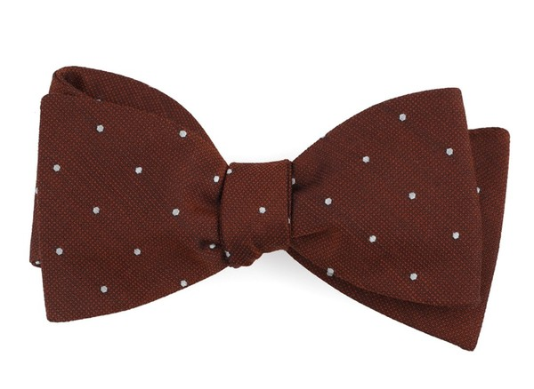 Dotted Report Burnt Orange Bow Tie