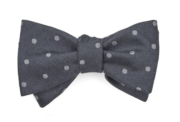 Dotted Hitch Grey Bow Tie