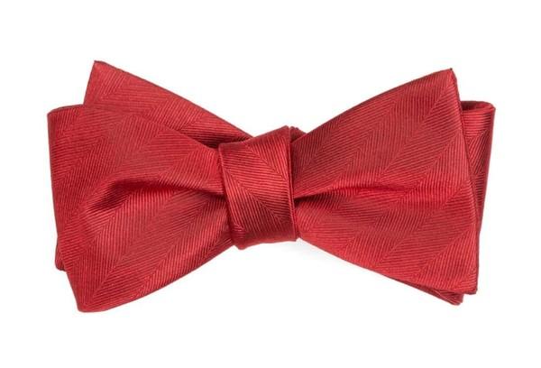 Herringbone Vow Red Bow Tie