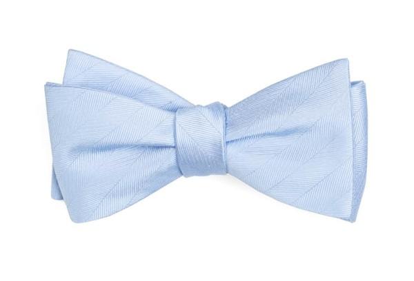 Herringbone Vow Light Blue Bow Tie