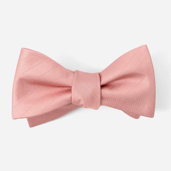Herringbone Vow Dusty Blush Bow Tie