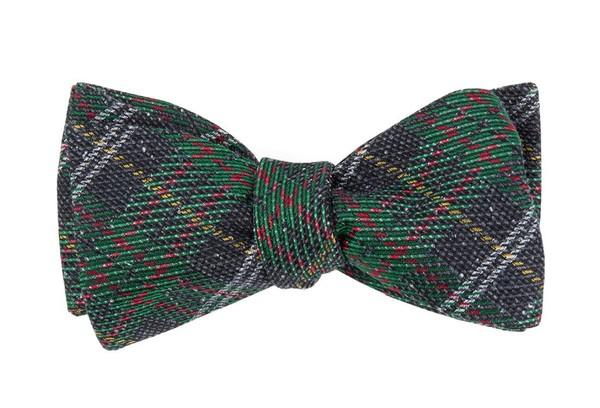 Christmas List Plaid Green Bow Tie