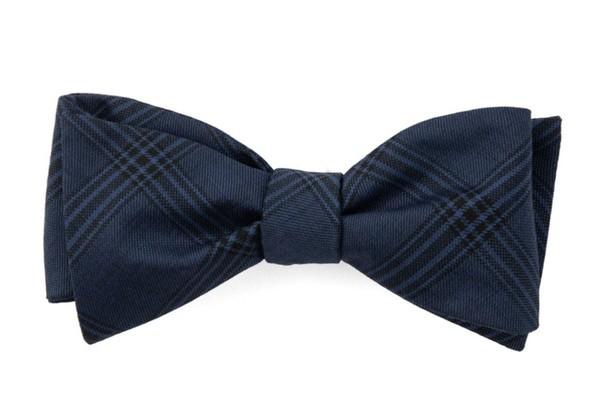 Brace Plaid Navy Bow Tie