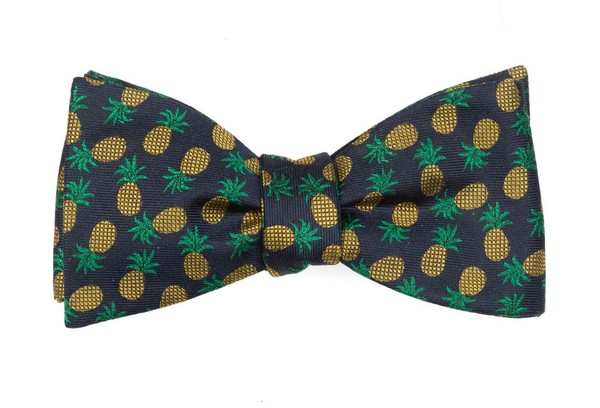 Pineapple Fruit Navy Bow Tie