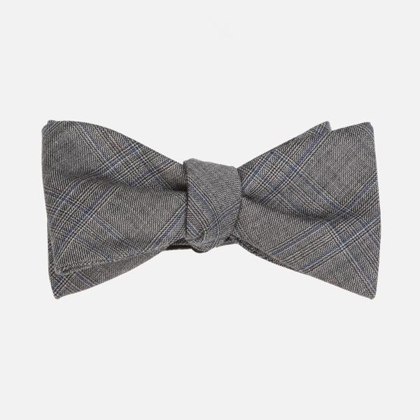 Azur Glen Plaid Grey Bow Tie