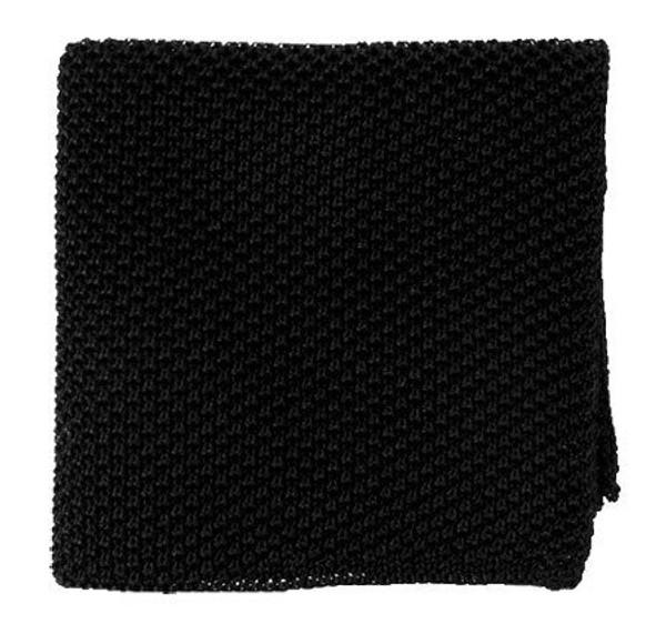 Solid Knit Black Pocket Square