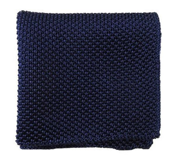 Solid Knit Blue Pocket Square