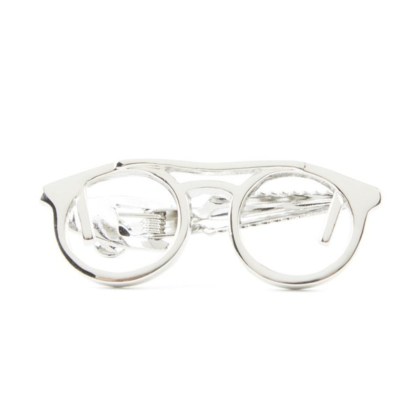 Glasses Silver Tie Bar