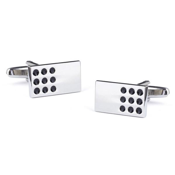 Domino Games Silver Cufflinks