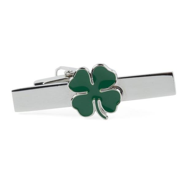 Four Leaf Clover Green Tie Bar