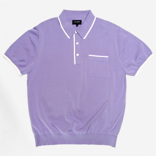 Tipped Cotton Sweater Lavender Polo