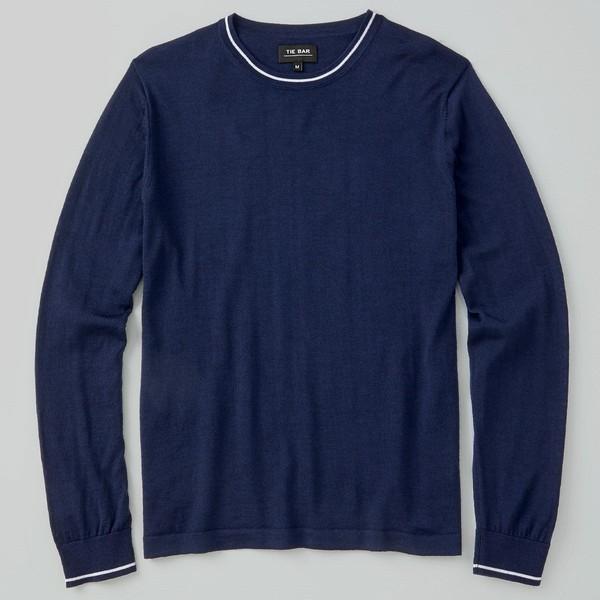 Perfect Tipped Merino Wool Crewneck Navy Sweater