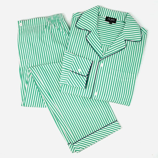 Green Stripe Pajama Set