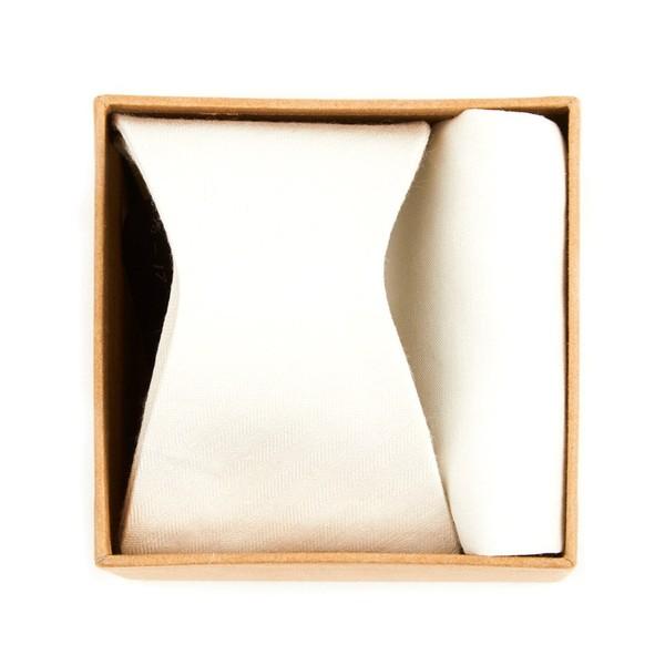 Linen Row Bow Tie Box Ivory Gift Set