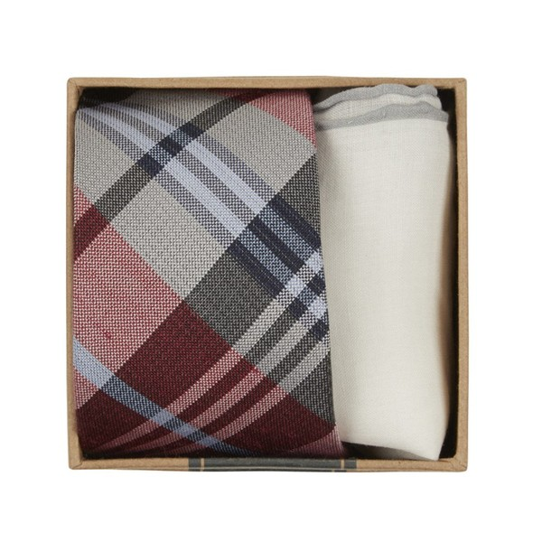 Crystal Wave Plaid Tie Box Red Gift Set