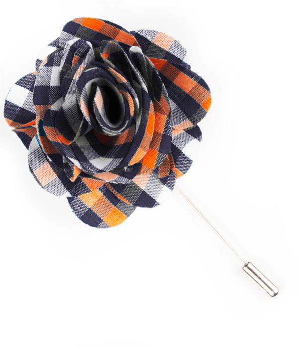 Sound Plaid Navy Lapel Flower