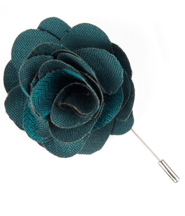 Astute Solid Teal Lapel Flower