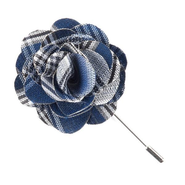 Wit Plaid Navy Lapel Flower