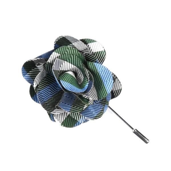 Polo Plaid Green Lapel Flower