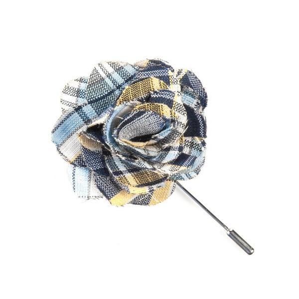 Rnr Plaid Classic Navy Lapel Flower