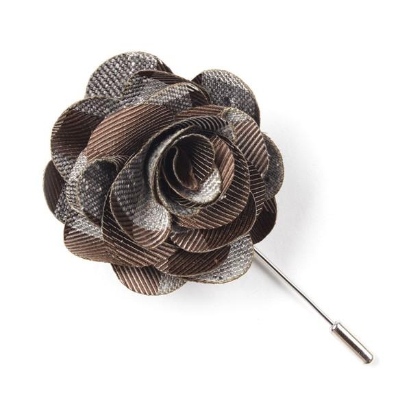 Splattered Gingham Brown Lapel Flower
