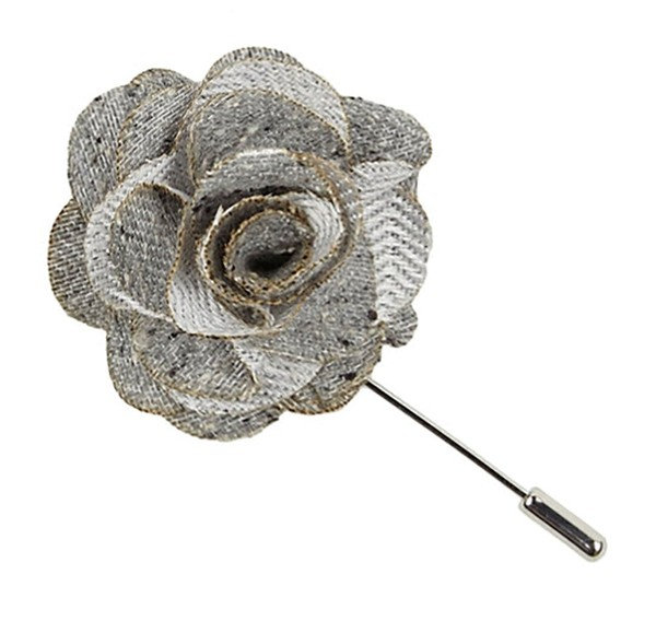 Buff Solid Silver Lapel Flower