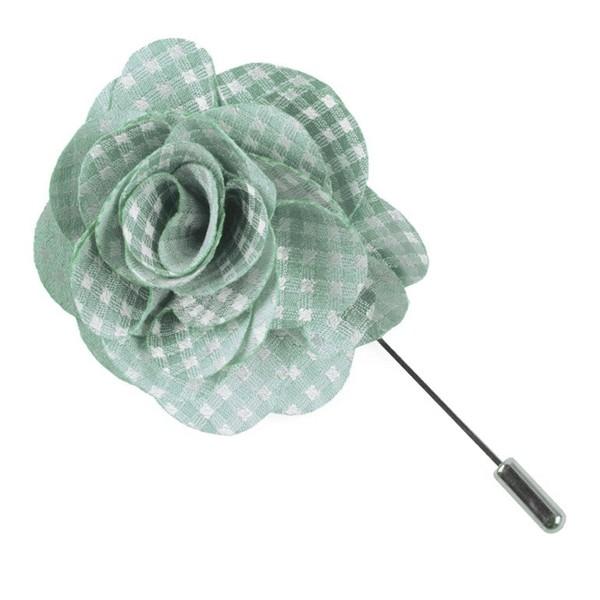 Be Married Checks Spearmint Lapel Flower