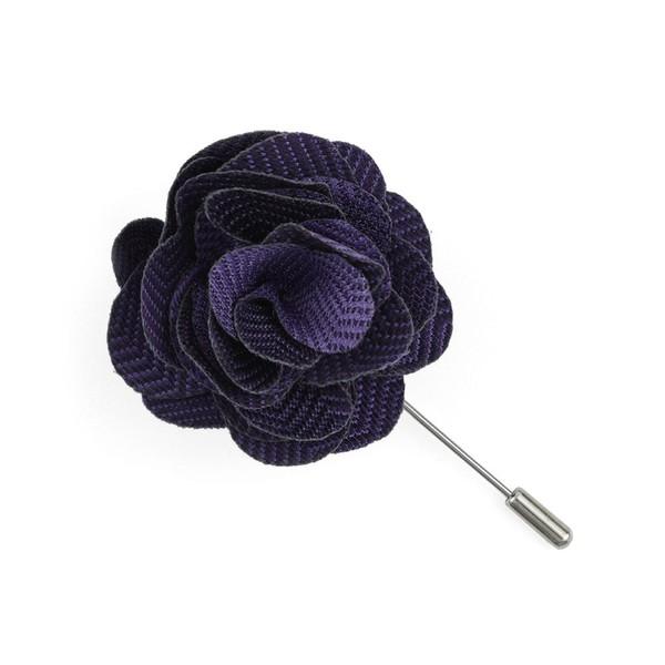 Verge Herringbone Purple Lapel Flower