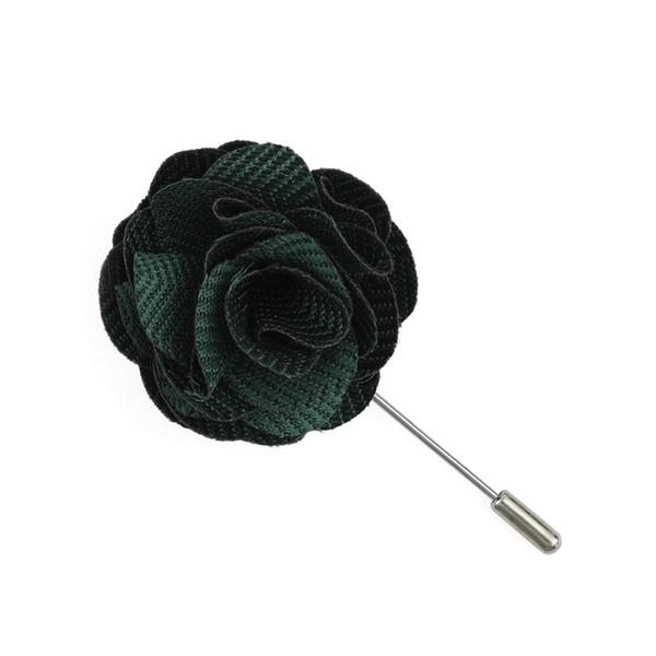 Verge Herringbone Hunter Green Lapel Flower