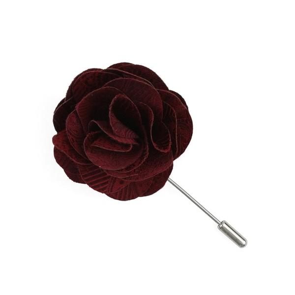 Twill Paisley Burgundy Lapel Flower