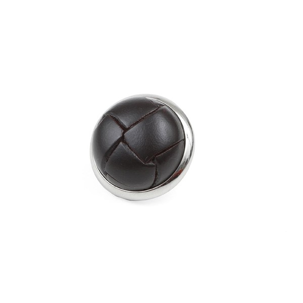 Leather Button Brown Lapel Pin