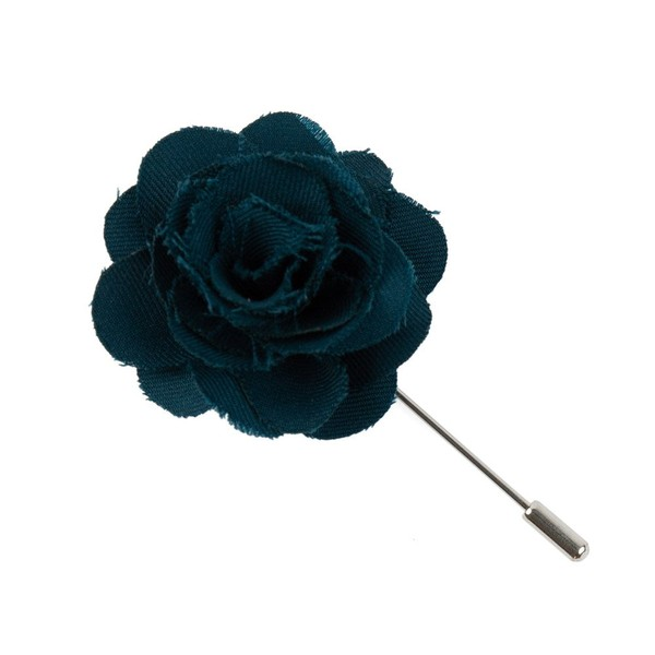 Fall Wool Solid Green Teal Lapel Flower