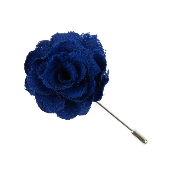 Fall Wool Solid Royal Blue Lapel Flower