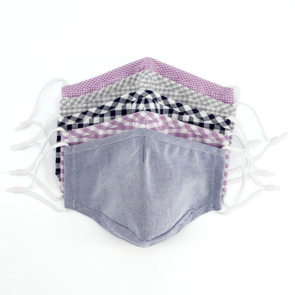 5 Pack Charcoal And Lavender Cotton Face Masks
