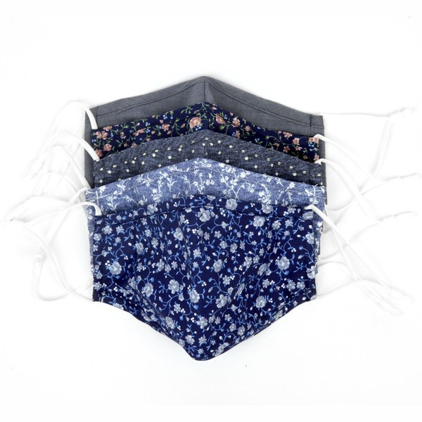 5 Pack Cotton Classic Colorful Navy Masks