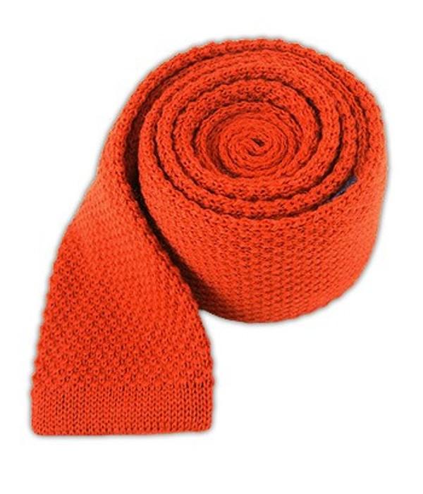 Knit Solid Wool Dark Rust Tie