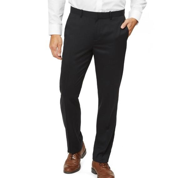 Solid Wool Black Dress Pants