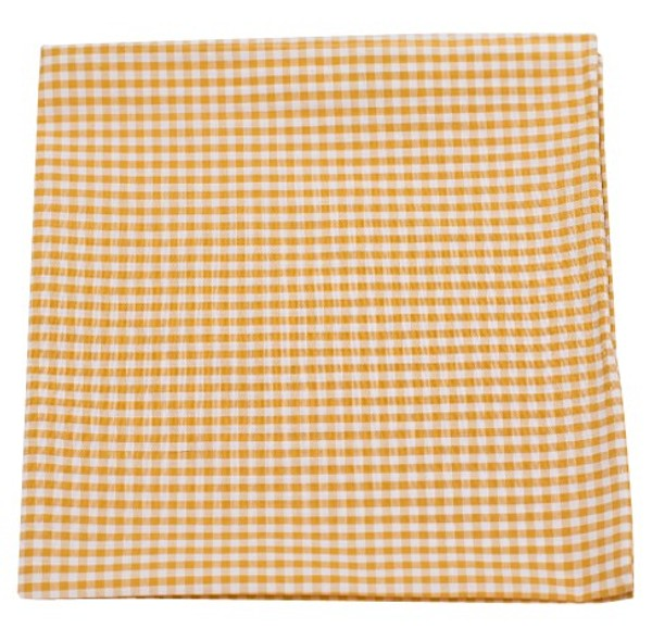 Petite Gingham Mustard Pocket Square