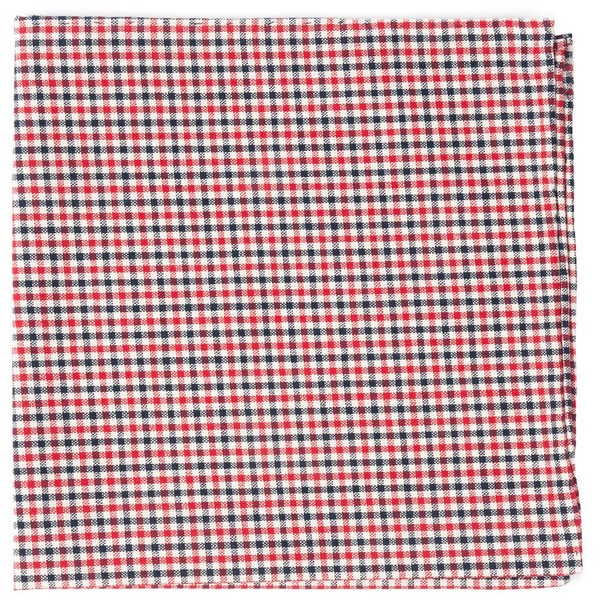 Gulf Shore Gingham Red Pocket Square