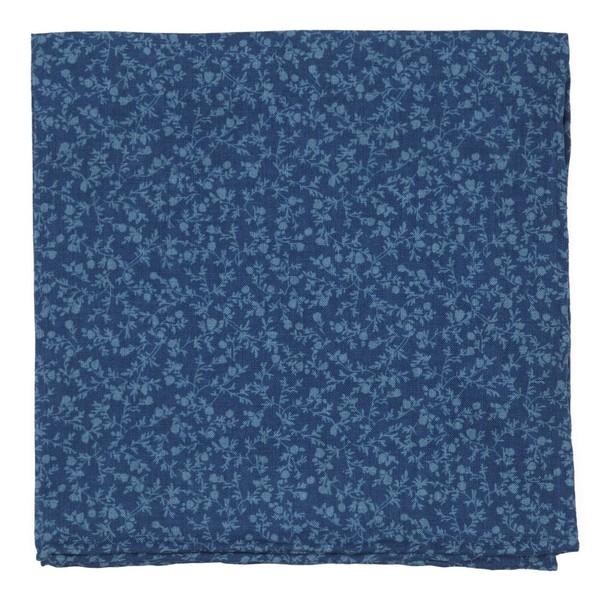 Floral Webb Blue Pocket Square