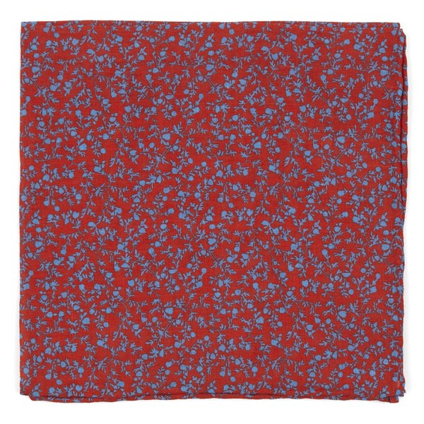 Floral Webb Persimmon Red Pocket Square