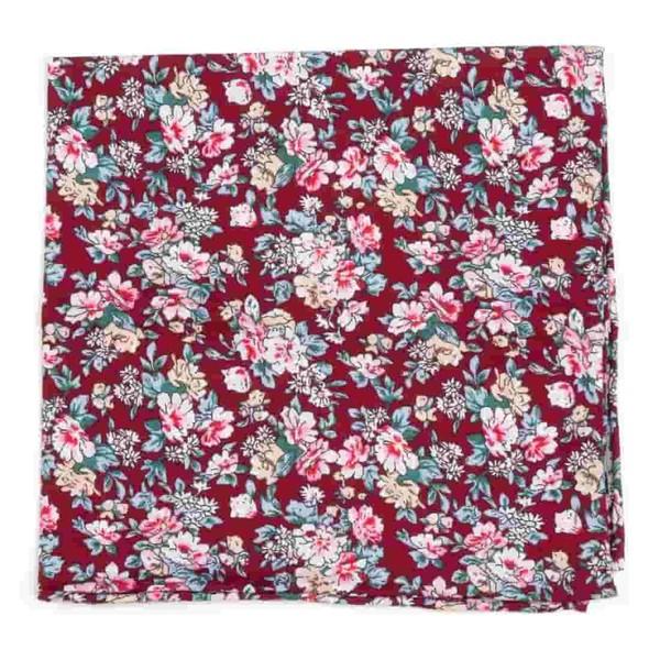 Rustica Florals Burgundy Pocket Square