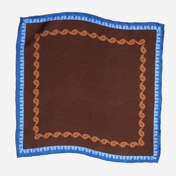 Tie Bar x Michel Men Classic Paisley Chocolate Brown Pocket Square